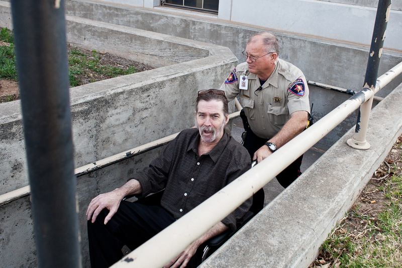 Mark Norwood exits the Tom Green County Courthouse after jury selection for his trial, Mar 18, 2013.