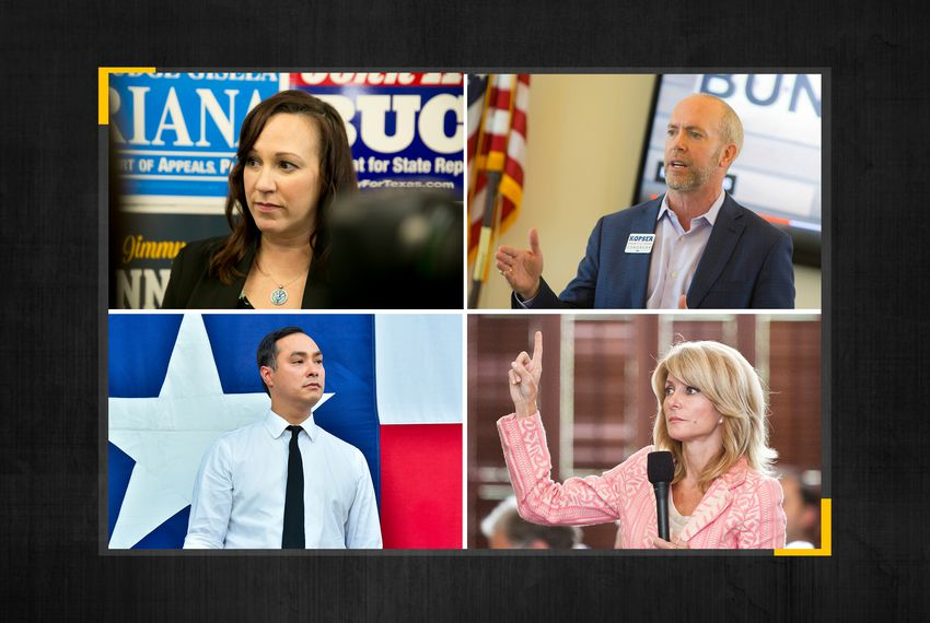 Clockwise from top left: former Democratic candidates for Congress MJ Hegar and Joseph Kopser, former state senator and gubernatorial candidate Wendy Davis, and U.S. Rep. Joaquin Castro, D-San Antonio.