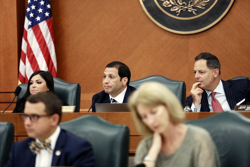 Texas Reps. Poncho Nevárez, D-Eagle Pass, and Rafael Anchia, D-Dalas, listened to testimony at a joint committee hearing Friday on the border crisis.