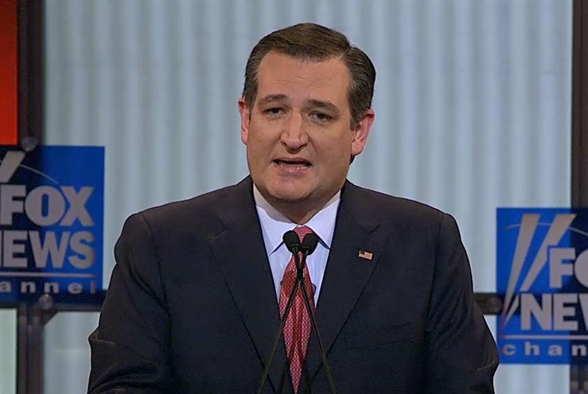 U.S. Sen. Ted Cruz at the GOP presidential debate in Detroit, Michigan on March 3, 2016.