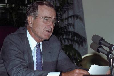 U.S. President George H.W. Bush is seen at the White House after he addressed U.S. troops defending Saudi Arabia, on August 29, 1990.