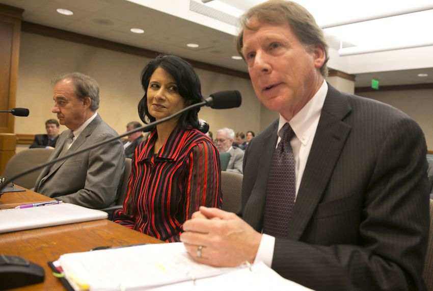 University of Houston President Renu Khator (center) and Texas Tech University System Chancellor Robert Duncan were among those who testified during a May 10, 2016, House Higher Education Committee hearing.