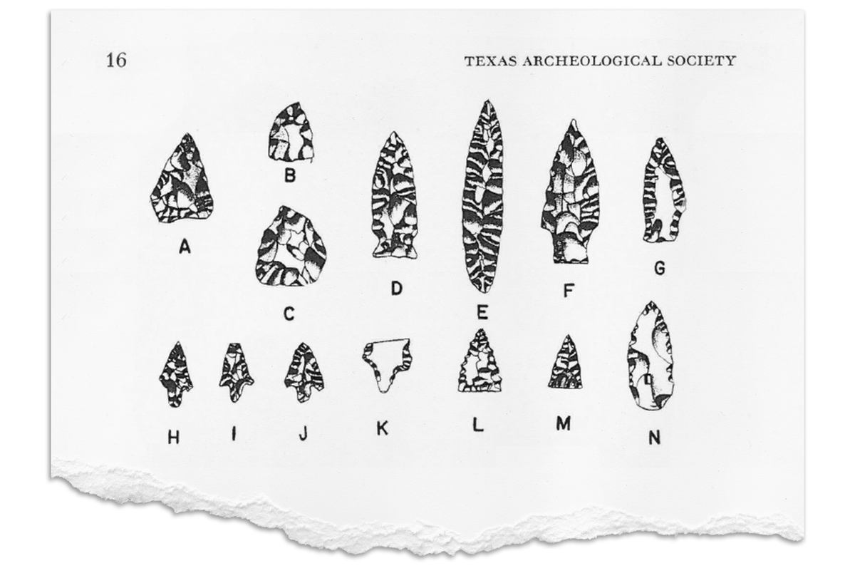 Images of artifacts found during an early archeological survey of McGloin's Bluff on the northeast point of Corpus Christi Bay are shown from a 1963 issue of the Bulletin of the Texas Archaeological Society. James Corbin conducted the survey, noting significant evidence of the Karankawa people.