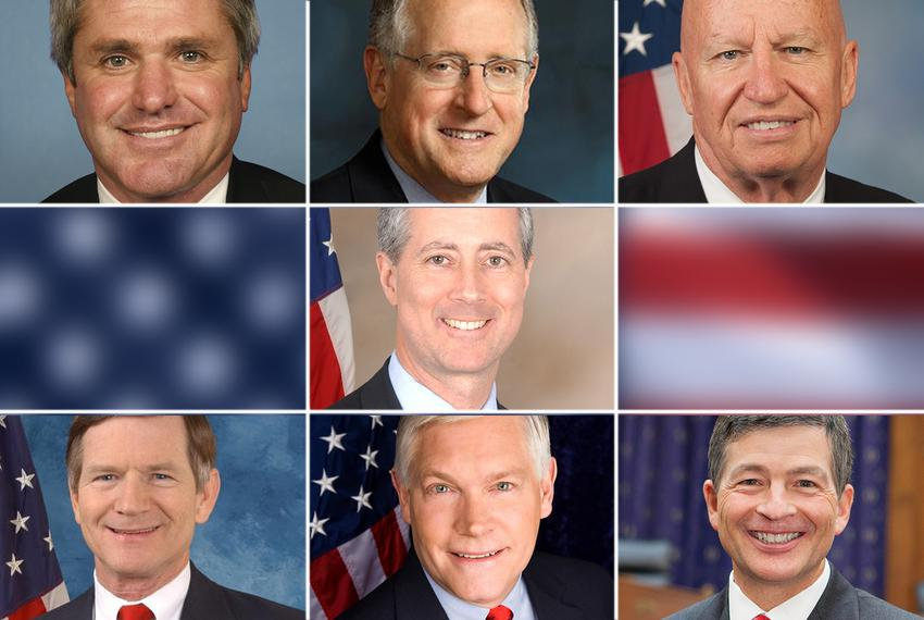 U.S. Republican Reps. from the Texas delegation (l-r) Top row: Michael McCaul, Mike Conaway, Kevin Brady; Center: Mac Thor...