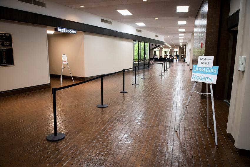 The empty line for the second dose of the Moderna COVID-19 vaccine at the Lubbock Memorial Civic Center vaccination site on …