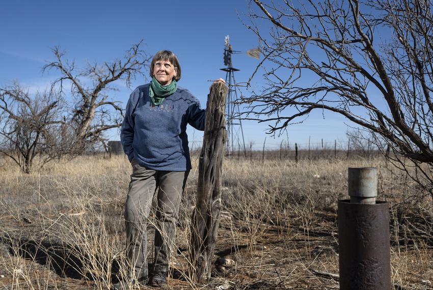 Elaine Magruder on her family's ranch near Andrews, Texas on Jan. 17, 2021.