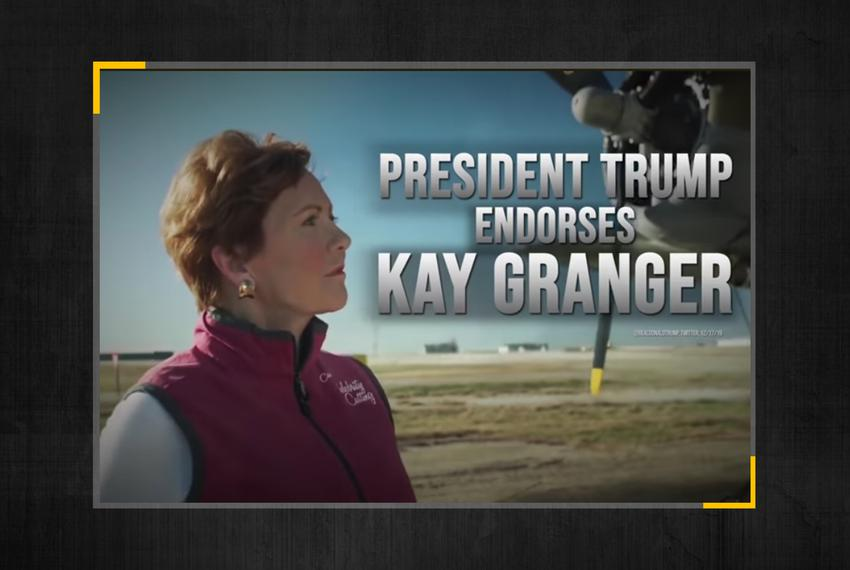 Screenshot of a political ad from U.S. Rep. Kay Granger's campaign touting her endorsement by Trump.