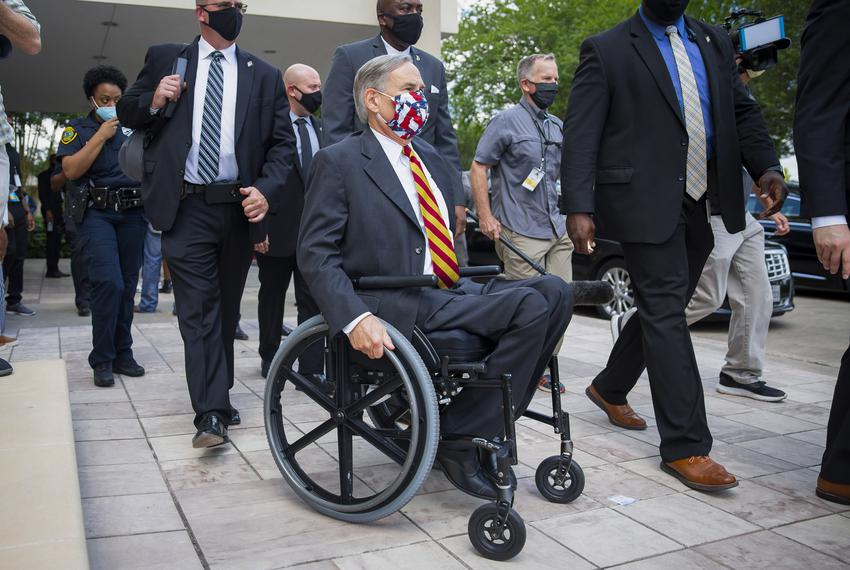 Governor Greg Abbott exits the public memorial service of George Floyd at the Fountain of Praise Church in Houston on June 8…