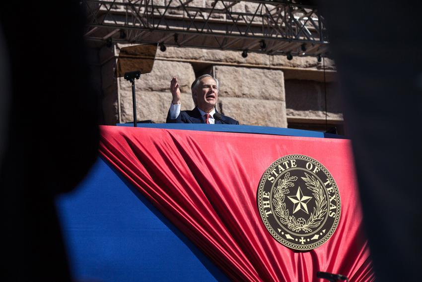 Gov. Greg Abbott delivers his inaugural address on Jan. 20, 2015.