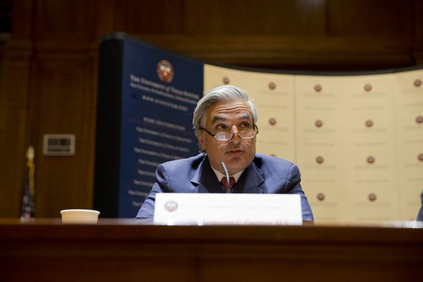 UT System Chancellor Francisco Cigarroa announces plan to resign his post on Feb. 10, 2014.