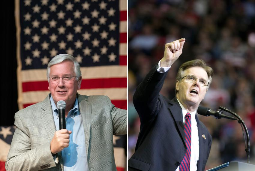Democrat Mike Collier (left) is challenging Republican incumbent Lt. Gov. Dan Patrick.