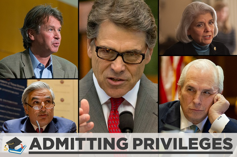 Clockwise, from top left: University of Texas System Regent Wallace Hall; Gov. Rick Perry; state Sen. Judith Zaffirini, D-Laredo; UT System Board Vice Chairman Gene Powell; and UT System Chancellor Francisco Cigarroa.