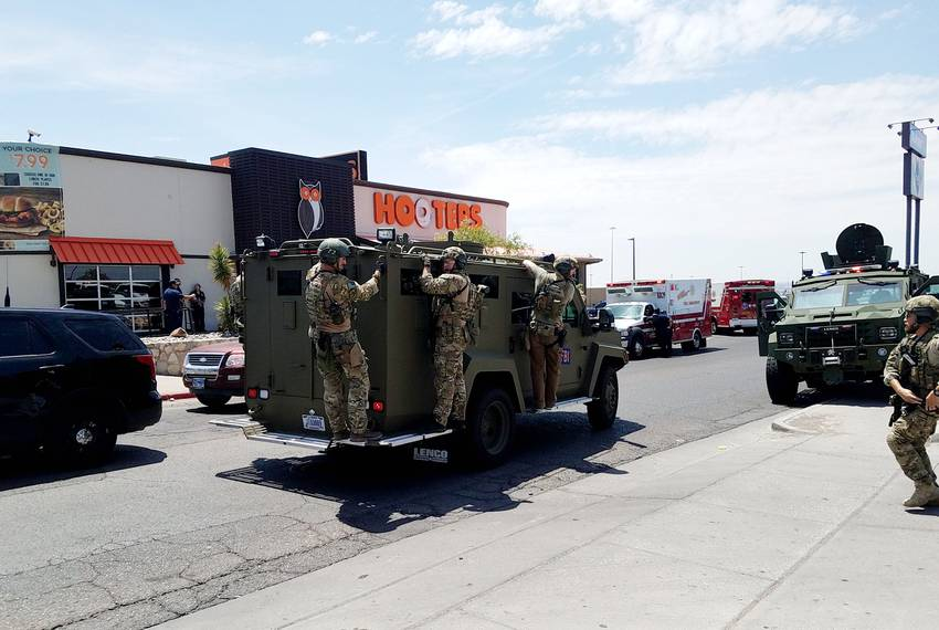 Multiple agencies at the scene of a mass shooting at a WalMart in El Paso on Saturday, August 3, 2019.