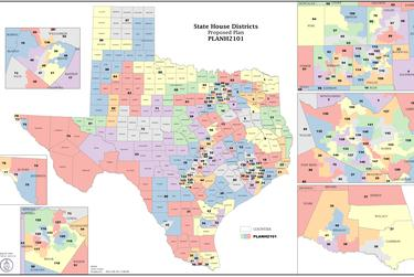 The first draft of the redistricted map of Texas House districts.