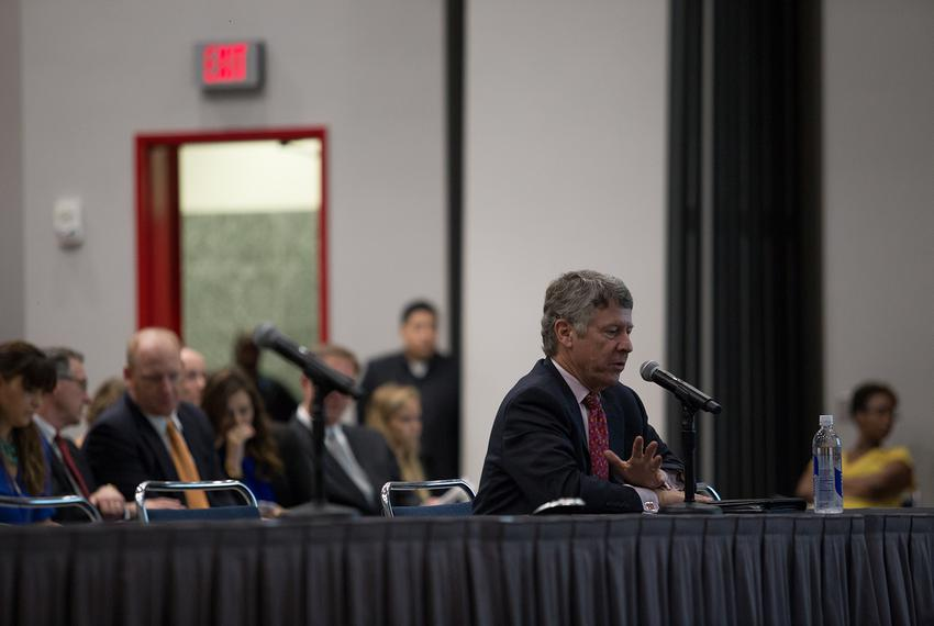Harris Co. Judge Ed Emmett testifies at a House Natural Resources Committee hearing held at the George R. Brown Convention C…