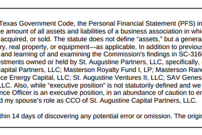 This is the explanation Land Commissioner George P. Bush gave when he amended his 2019 personal financial statement. He also amended reports in filed in 2018 and 2015.
