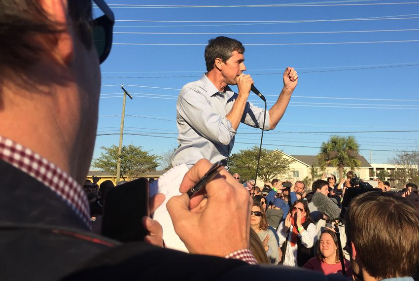 Former U.S. Rep. Beto O'Rourke campaigned in Charleston, South Carolina on March 22.
