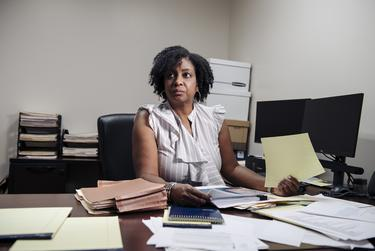 Kimberly Clark-Washington, a mental health clinician, works at the Harris County public defender's office in Houston.