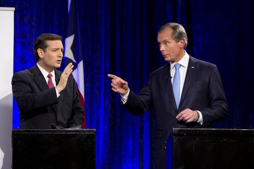 Ted Cruz and Lt. Gov. David Dewhurst at a U.S. Senate debate in Houston on July 23, 2012.