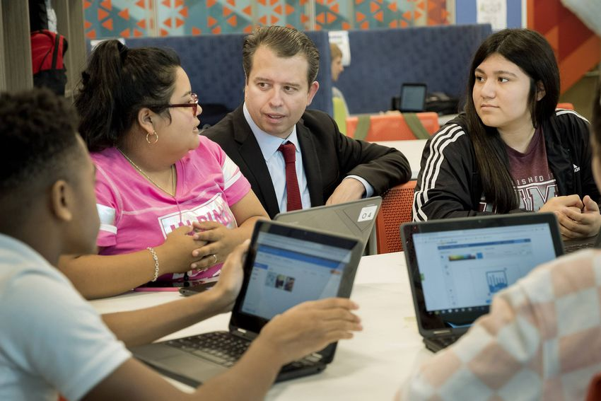 San Antonio Independent School District Superintendent Pedro Martinez visits with students at Fox Tech in San Antonio on Oct…