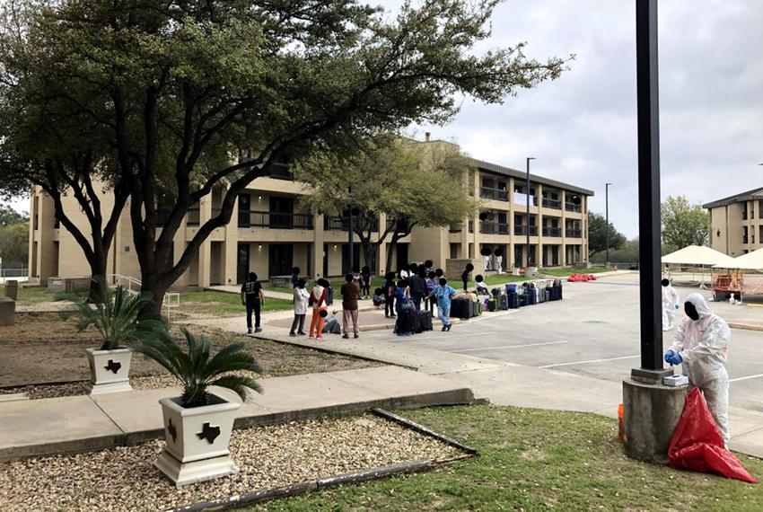The hotel on Lackland Air Force Base where Tyler and Rachel Torres were quarantined.