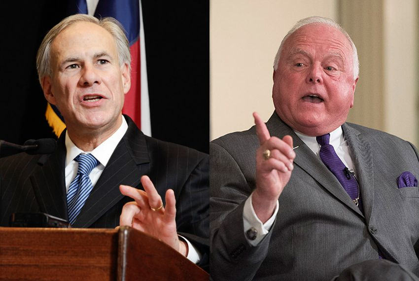 Texas Gov. Greg Abbott, left, and Agriculture Commissioner Sid Miller.