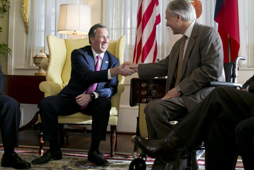 Mexican Secretary of Foreign Affairs José Antonio Meade Kuribreña shakes hands with Gov. Greg Abbott during a meeting at t...