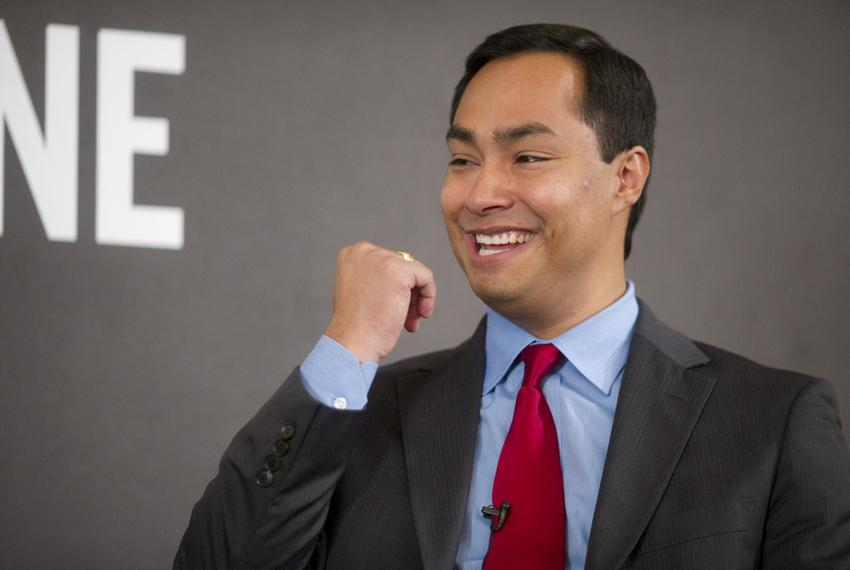 Candidate for U.S. Congress Joaquin Castro smiles while speaking to Texas Tribune editor Evan Smith at TribLive on December …