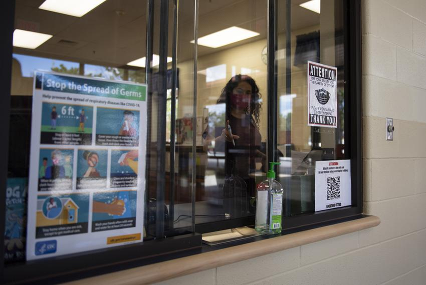 The visitor check-in station at Ott Elementary School on Tuesday, Aug. 11, 2020 in San Antonio. Visitors are required to fil…