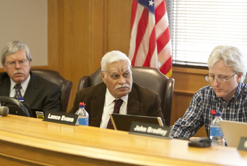 Texas Forensic Science Commission members (left to right) Dr Stanley Hamilton,  Dr. Nizam Peerwani and Lance Evans on April …