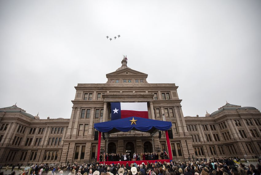 Air Force fighter planes fly over the state Capitol during the oath of office ceremony for Gov. Greg Abbott and Lt. Gov. Dan Patrick in January.