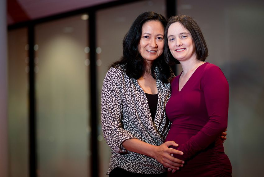 Cleopatra De Leon and Nicole Dimetman, plaintiffs in the Texas same-sex marriage lawsuit, pose before a a town hall discussion about the upcoming hearing before the U.S. Fifth Circuit Court of Appeals.