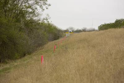 Surveyor's stakes in ground where proposed wall at the US-Mexico border is to be built in Mission, Texas