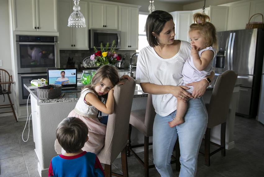 Melissa and her three children on Monday, Aug. 24, 2020.