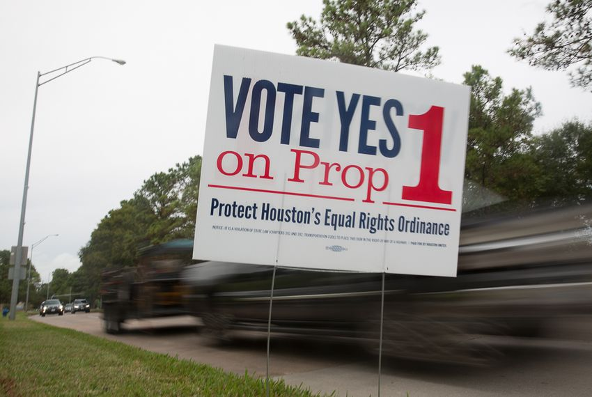 Prop 1 signs posted at the along the Adaptive Sports and Recreation facility on West Grey in Houston, TX for the November 2015 election.  Photo by: Shelby Knowles
