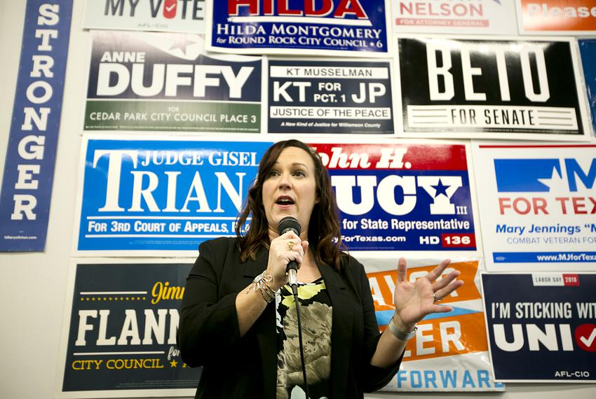 Democratic nominee for the 31st Texas congressional district, MJ Hegar speaks to supporters and volunteers at an early vot...