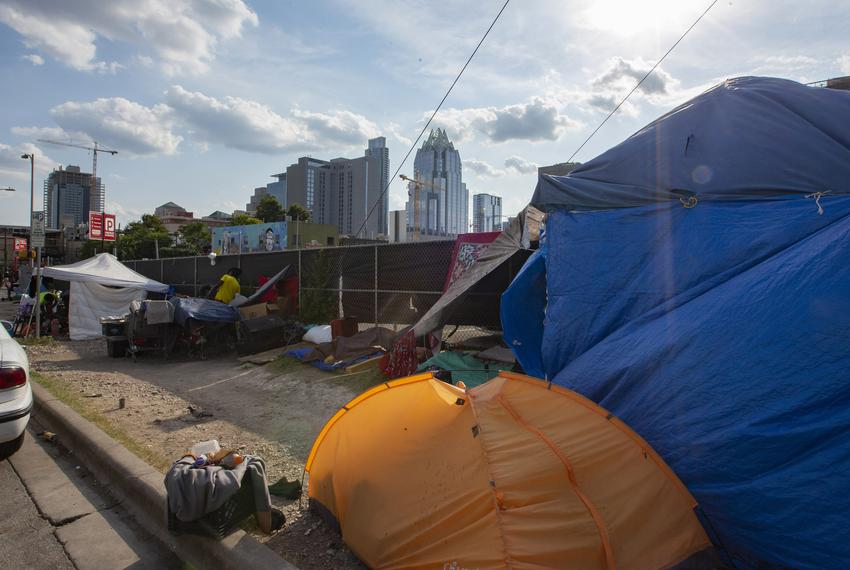 Camps were set up near the ARCH, The Austin Resource Center for the Homeless, in downtown on Aug. 2, 2019.