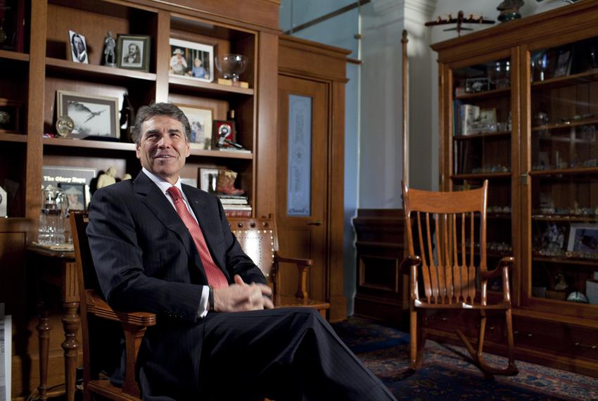 Gov. Rick Perry in his Capitol office on Feb. 21, 2012, a month after leaving the presidential race.