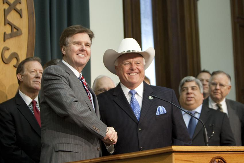 Sen. Dan Patrick, R-Houston with Rep. Sid Miller R-Stephenville speak together if favor of HB 15, the abortion sonogram bill…