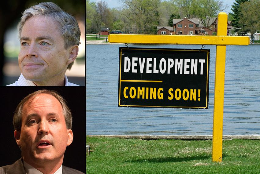 Don Huffines, a North Texas developer who is running for state Senate, and state Sen. Ken Paxton, who is running for attorne…