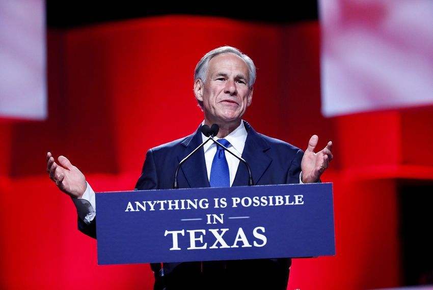 Gov. Greg Abbott gives the keynote speech at the Republican Party of Texas convention in San Antonio on June 15, 2018.