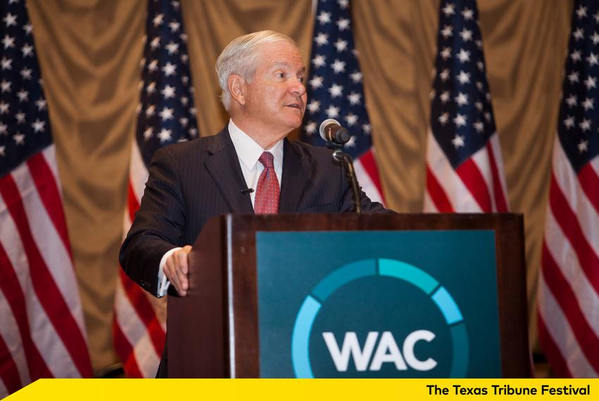 Former Secretary of Defense Robert Gates spoke to a crowd of about 5,000 on the topic of leadership on Jan. 28, 2016 at the …