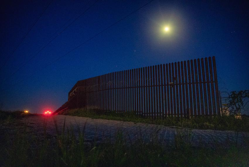 The United States border wall near the Santa Ana Wildlife Refuge and Highway 281 in South Texas.