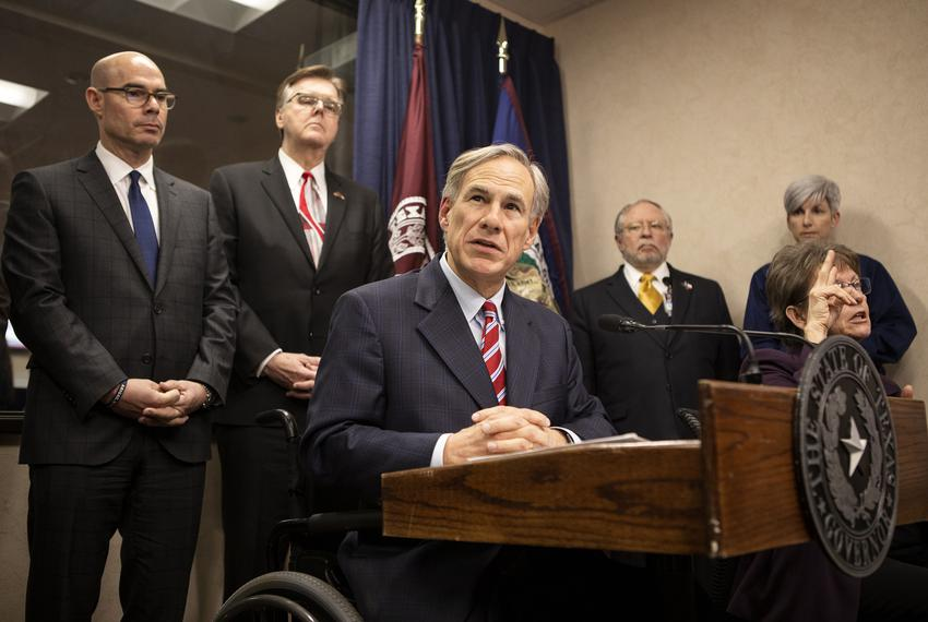 Gov. Greg Abbott addresses the press after a meeting with government officials on COVID-19 preparedness in the state. Feb....