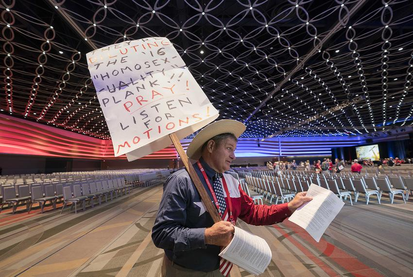 Delegate Jack Finger of San Antonio looks for platform support in the closing hours of the Republican Party of Texas convent…