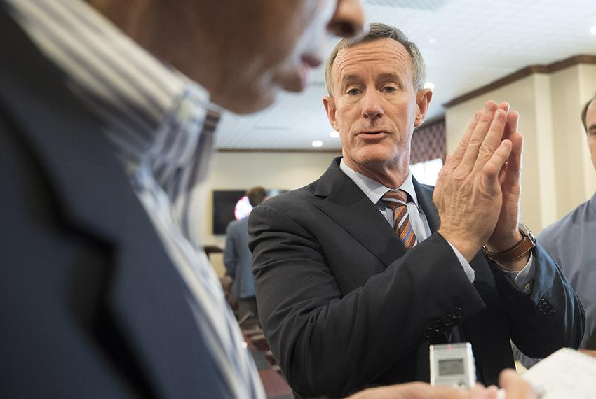 University of Texas System Chancellor William McRaven speaks to reporters on July 13, 2017 regarding closed-door discussions…