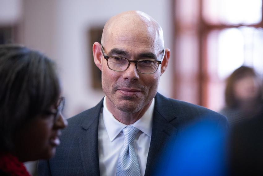 Speaker Dennis Bonnen on the House floor during the House School Finance plan deliberation on April 3, 2019.