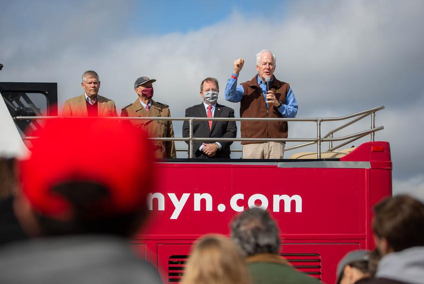 U.S. Sen. John Cornyn, R-Texas, during his bus tour stop in College Station on Oct. 28, 2020.