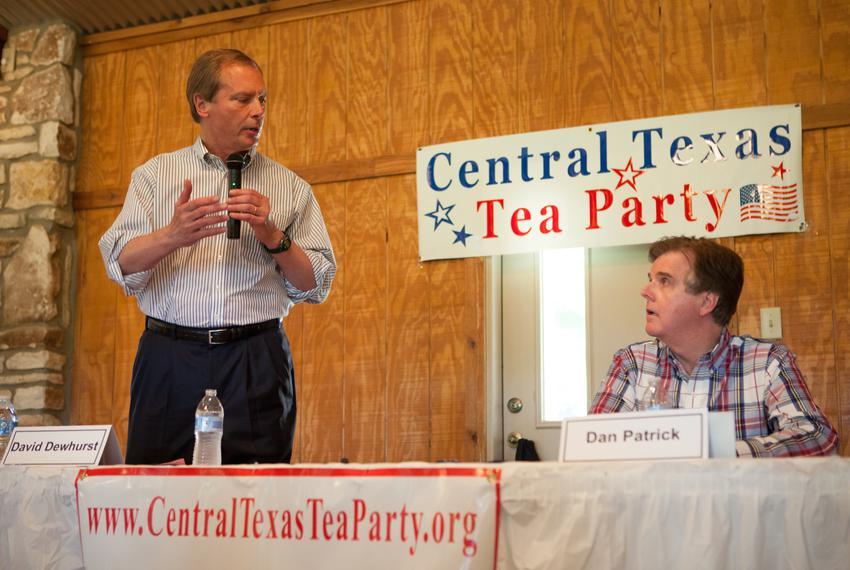 Lt. Gov. David Dewhurst and state Sen. Dan Patrick debated in Salado, Tx on May 20, 2014, ahead of the Republican primary ru…