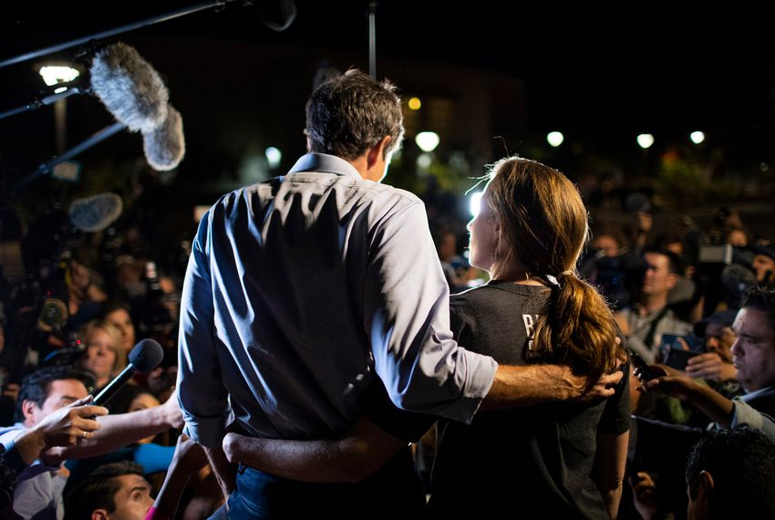 U.S. Rep. Beto O'Rourke, D-El Paso and his wife Amy Sanders O'Rourke speaks to the local and national media at UTEP before the start of his final campaign rally before the midterm elections, Monday, November 5, 2018, in El Paso, Texas. Photo by Ivan Pierre Aguirre for The Texas Tribune